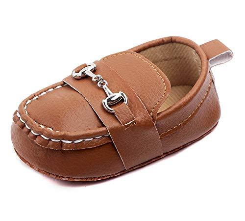 LONSOEN Baby Girls Boys Loafers Prewalker Moccasin Crib Shoes,BAY208 Brown 12-18 Months Toddler