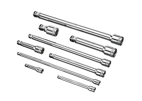 ARES 70330 | 9-Piece Wobble Extension Set | Premium Chrome Vanadium Steel Construction | 1/4-inch, 3/8-inch and 1/2-inch Drive Sizes Included | Storage Tray Included by ARES