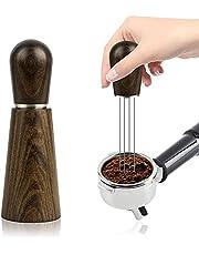 Espresso kaffeomrörare, professionell nål espresso omrörningsverktyg för kaffe fördelningspulver med trähandtag och stativ, kaffespridare distributör