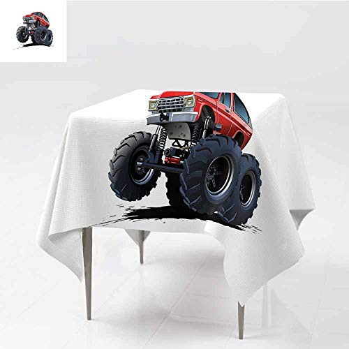 Diycon Easy Care Tablecloth Truck Extreme Off Road Vehicle Cartoon Style Monster Truck Motorsports Illustration Night Blue Red Easy to Clean W70 xL82 ()