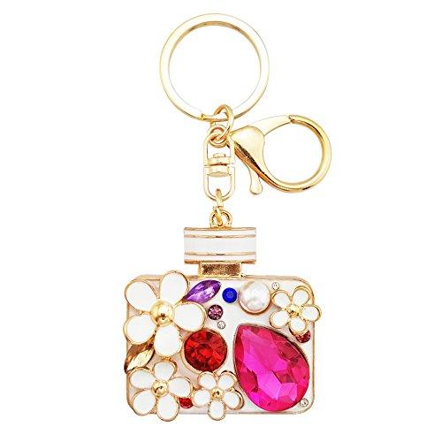 LAXPICOL Red Crystal Handbag Perfume Bottles Keychain Lovely Key Ring Rose Gold ()