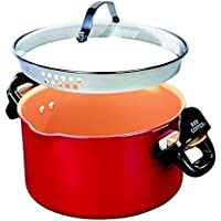 BulbHead Red Copper 5-Quart Better Pasta Boiler Pot with Tempered Glass Locking Lid (As Seen on TV)