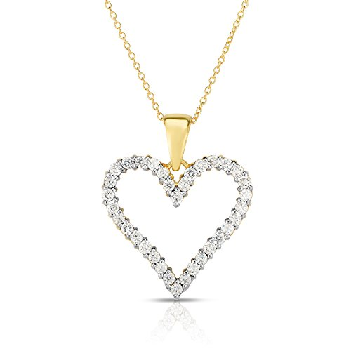 Noray Designs 14k Yellow Gold Diamond (1 Ct, G-H Color, SI2-I1 Clarity) Heart Pendant, 18