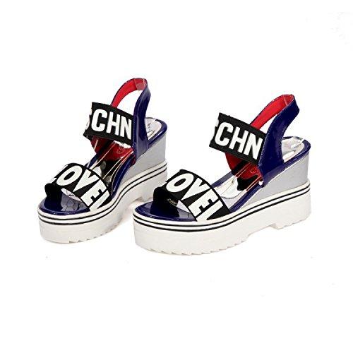 QIN&X Damen Sandalen mit Keilabsatz Sommer Peep Toe Schuhe Blue