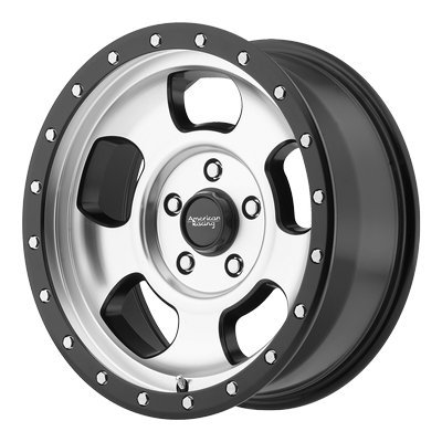 American Racing AR969 Ansen Off Road Wheel with Machined Finish and Satin Black Ring (18x9''/6x139.70mm, 0 offset)