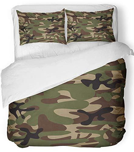 - Emvency 3 Piece Duvet Cover Set Breathable Brushed Microfiber Fabric Beige Army Camouflage Classic Style Masking Camo Green Brown Black Olive Colors Bedding Set with 2 Pillow Covers Full/Queen Size