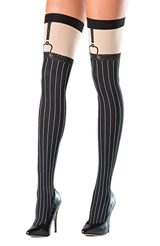 Costume Adventure Women's Black Pinstripe Gangster Costume Thigh High Stockings (Mafia Costumes For Women)