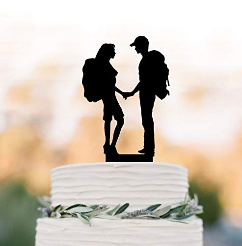 SWQAA Hiking Couple cake topper Backpacking Bride and Groom outdoor wedding Mountain Wedding Cake Topper ()