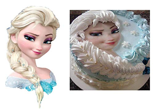 FROZEN, ELSA HEAD AND BRAID : edible cake topper ONLY for displayed cake, birthday decor frosting party decoration sheet premium sheets ()