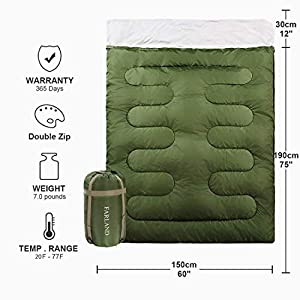 FARLAND Double Sleeping Bag for Backpacking Camping Or Hiking Cold Weather 2 Person Waterproof Sleeping Bag for Adults Or Teens. Truck, Tent, Lightweight, Mommy,Envelope
