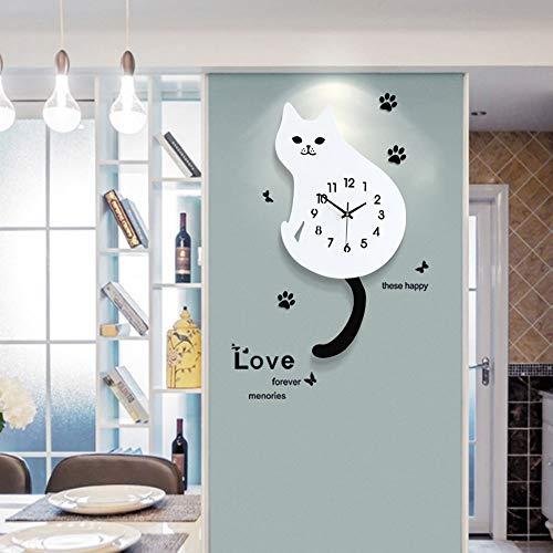 Amazon.com: WOOLIY Cartoon Cat Dog Wall Clock/Creative Living Room Clock/Bedroom Mute Clock Decoration/Digital Silent Punctual Quartz Clock,A: Home & ...