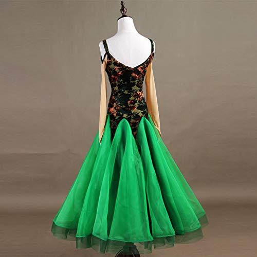 Usure Standard Concours Moderne Danse Impression Bal Wqwlf Mode Valse Robes Green xxl Femmes Salle De wCZw7Bq