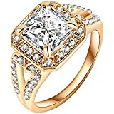 New Fashion Square Crystal 18k Gold Plated Ring Cz Ring Engagement Ring Wedding Rings Female Jewelry