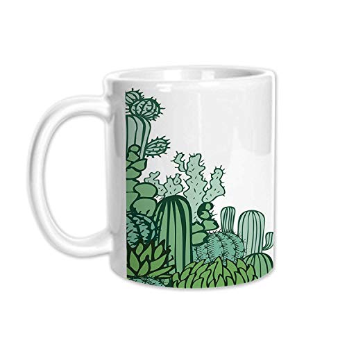 (Cactus Decor Stylish White Printed Mug,Arizona Desert Themed Doodle Cactus Staghorn Buckhorn Ocotillo Decorative for Living Room Bedroom,3.1