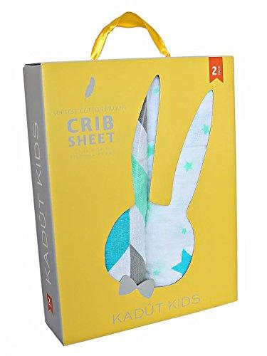 Kadut Kids Crib Sheet Set, 2 Pack, 100% Soft Muslin Cotton-
