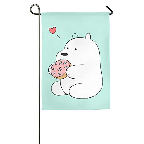 [We Bare Bears Anime Ice Bear Heart Confederate Welcome Garden Flag] (Confederate Flag Halloween Costume)