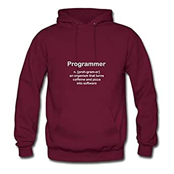 Styling Programmer Burgundy Women Organic Cotton Hoodies Fitted Funny X-large