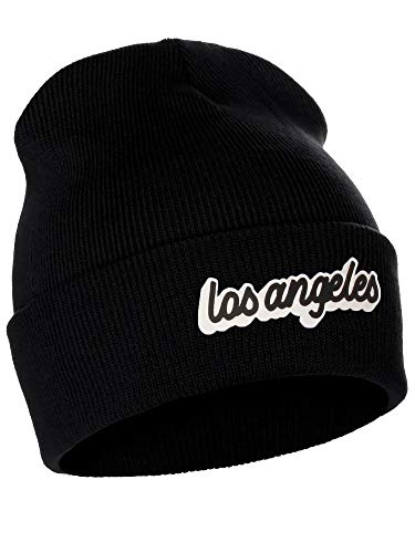 I&W Classic USA Cities Winter Knit Cuffed Beanie Hat 3D Raised Layer Letters, Los Angeles Black, White Black