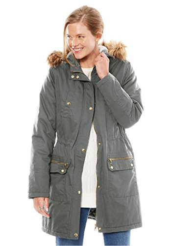 Woman Within Women's Plus Size Removable Fur-Trim Hooded Parka Olive Grey,18/20 (Straight Matte Jacket)
