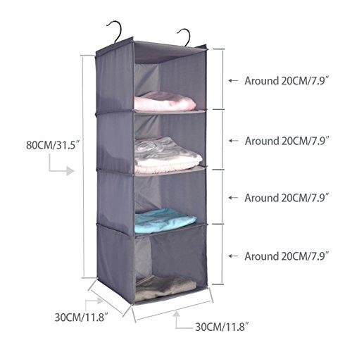 BabyCola 4-Shelf Hanging Closet Organizer, Hanging Clothes Storage Box,Collapsible Closet Hanging Shelf,Sweater & Handbag Organizer, Shoes Accessories Storage,Easy Mount(gray) by BabyCola (Image #1)