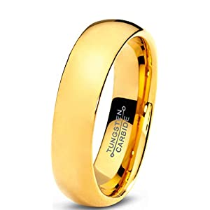 Charming Jewelers Tungsten Wedding Band Ring 5mm for Men Women Comfort Fit 18K Yellow Gold Plated Plated Domed Polished