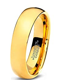Tungsten Wedding Band Ring 5mm for Men Women Comfort Fit 18K Yellow Gold Plated Domed Polished Lifetime Guarantee