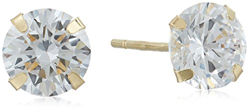 5mm Round Cubic Zirconia 10k Yellow Gold Stud Earrings