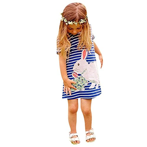 Girls' Rabbit Short Sleeves Dress Length To The Knee Dresses Kids Child Clothes (Monster High Girls Names)