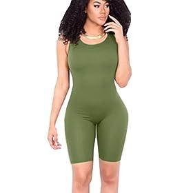 Icooltech Women Casual Sleeveless Bodycon Romper Jumpsuit Club Bodysuit Short Pants M Green