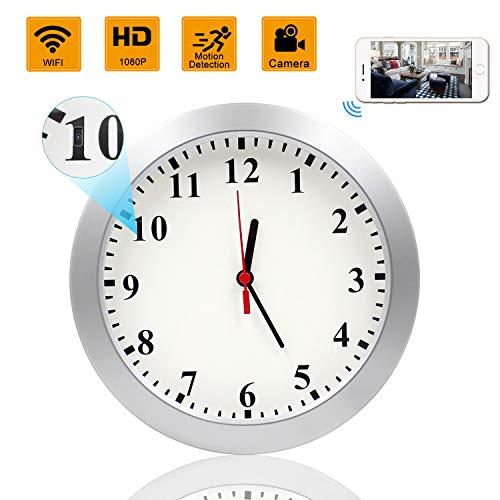 Hidden Camera Clock, KAMRE Upgrade 1080P WiFi Hidden Camera Wall Clock Spy Camera Nanny Camera for Home Security with Motion Detection, No Night Vision 2.4 Ghz Hidden Clock