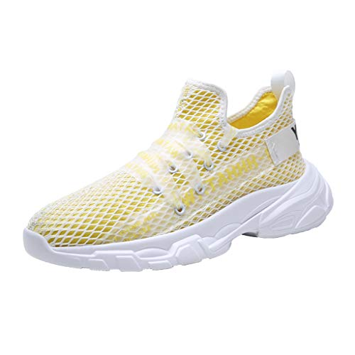 - WILLBE Men's Outdoor Sneakers Mesh Breathable Running Shoes Non-Slip Sneakers Lace-Up Sneakers Athletic Sneakers Yellow