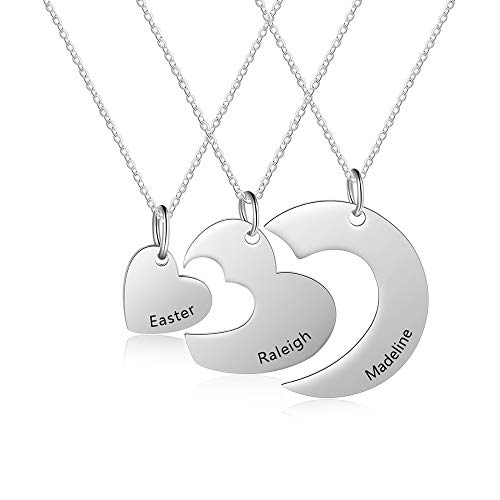 ROSI Personalized Custom Necklace Set Matching Heart Puzzle 3 Piece Friendship for Best Friend or Sisters or Mother