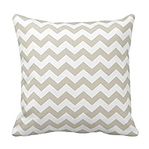 Generic Custom Chevron Pattern - beige and white Throw Pillow Covers