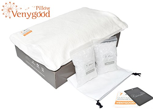 Venygood Premium - Hilton Conrad Pillow, SCI Proven Cure for Neck N Back Pain. Microbead for Therapeutic Chiropractic Good Sleep Purposes. Real Innovations, Migraine Gone! Cervical Memory Foam Pillows by Venygood
