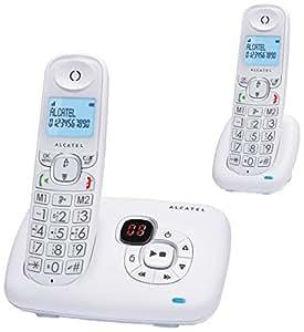 Alcatel Confort XL 375 Voice Duo - Teléfono (DECT, Escritorio, Color blanco, AAA, Polifónico, Azul)