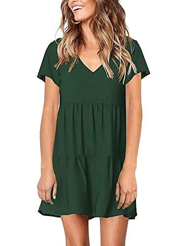 (Lannychic Women's Short Sleeve Tunic Dress V Neck Ruffle Loose Mini Dress Swing Shift Dresses - Dark Green XXL)