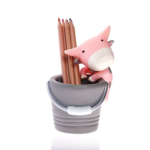 BuBu Pen and Pencil Holder Cute Cow Design Gray/Pink Desk Organizer