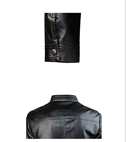 hombres Casual para con black PJK cuero 3xl Standard Chaqueta Solid de cremallera tzxtIX