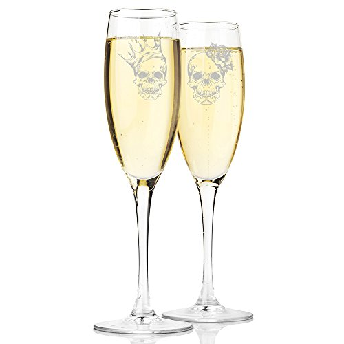 Skull King and Skull Queen Champagne Toasting Flute Glasses, Set of 2