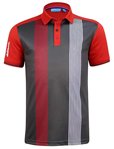 (CMAX Vertical Pinstripe Tech Golf Polo Shirt - Grey - US L (Non)