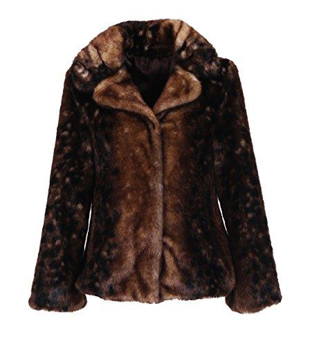 Enjoy Fur Women's Short Animal Print Mink Faux Fur Coat With Notched Collar (Size: S) (Notched Collar Fur Coat)