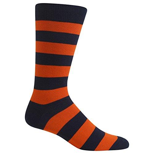 Hot Sox Women's Originals Fashion Crew Socks, College Rugby Stripe (Navy/Orange), Shoe 4-10/Sock Size 9-11 (Rugby Navy Womens)