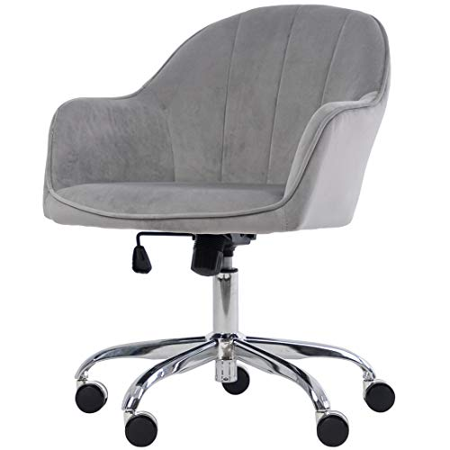 Golden Beach 360 Degree Swivel Home Office Chair Plush Velvet Desk Chair Reception Chair with Height Adjustment (Gray)