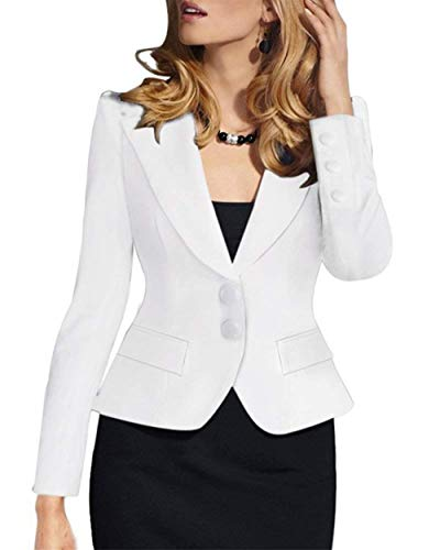 Di Tailleur Manica Bavero Coat Business Cappotto Autunno Solidi Fit Slim Giacca Donna Giovane Single Moda Corto Bianca Colori Da Breasted Lunga taw4v