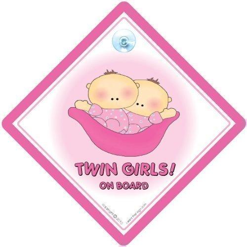 Twin On Board Car Sign, Twins On Board, Twin Girls On Board, Pink Peapod, Twins Car Sign, Twins On Board Car Sign,Decal, Bumper Sticker, Baby Car Sign, Car (Peapod Babies Twin)