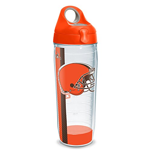 (Tervis 1230788 NFL Cleveland Browns Stripe Tumbler with Wrap and Orange Lid 24oz Water Bottle, Clear)