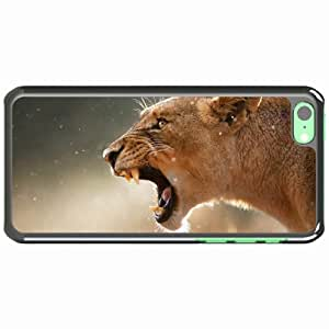 iPhone 5C Black Hardshell Case lioness aggression teeth face Desin Images Protector Back Cover