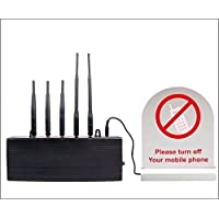 Commercial Cell Phone Detector - 5 Adjustable Frequency Scanners – Detects 2G, 3G, 4G, CDMA Mobile Signal - 65 Foot Range - Battery Backup – For Hospitals, Offices, Theaters - incl. Free Security Ebook
