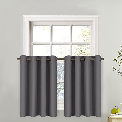 NICETOWN Blackout Window Valance for Kitchen - Thermal Insulated Blackout Grommet Top Tier Curtain for Cafe Store (One Panel, 52W by 36L + 1.2 Inches Header, Grey)