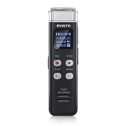 Voice Recorder Evistr 8GB Digital Audio Sound Recorder Dictaphone, Voice Activated Recorder with MP3 Player,Auto Saving File Every 5 Seconds